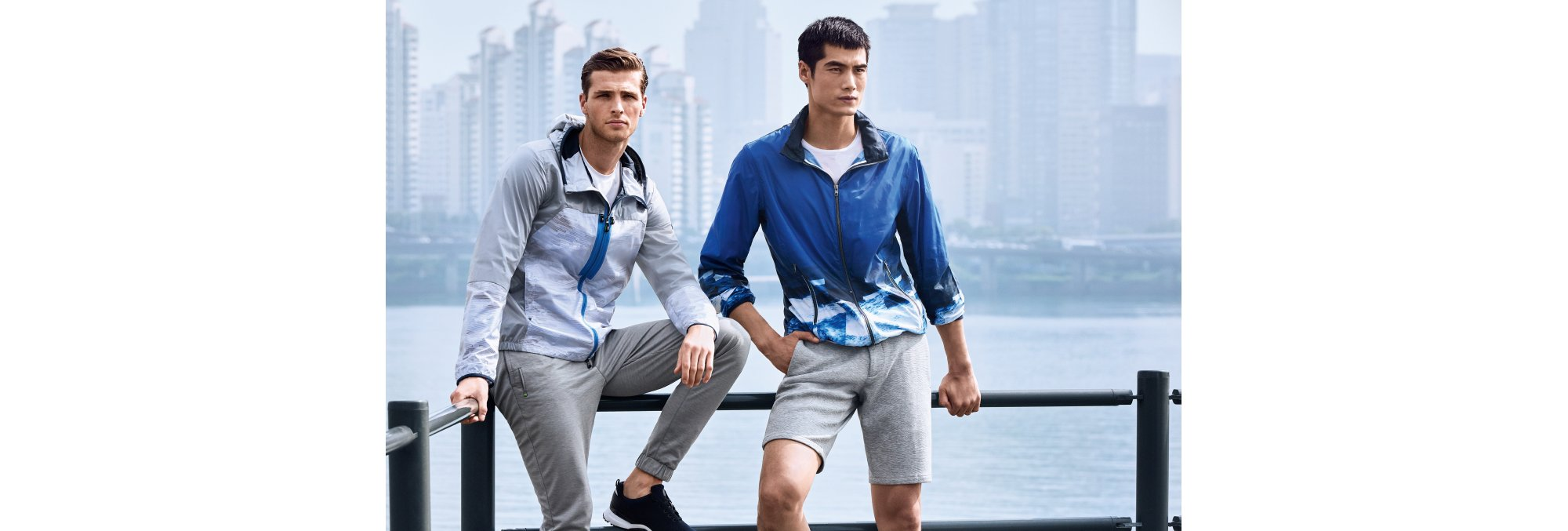 Grey jacket and blue Jocean jacket by BOSS Green