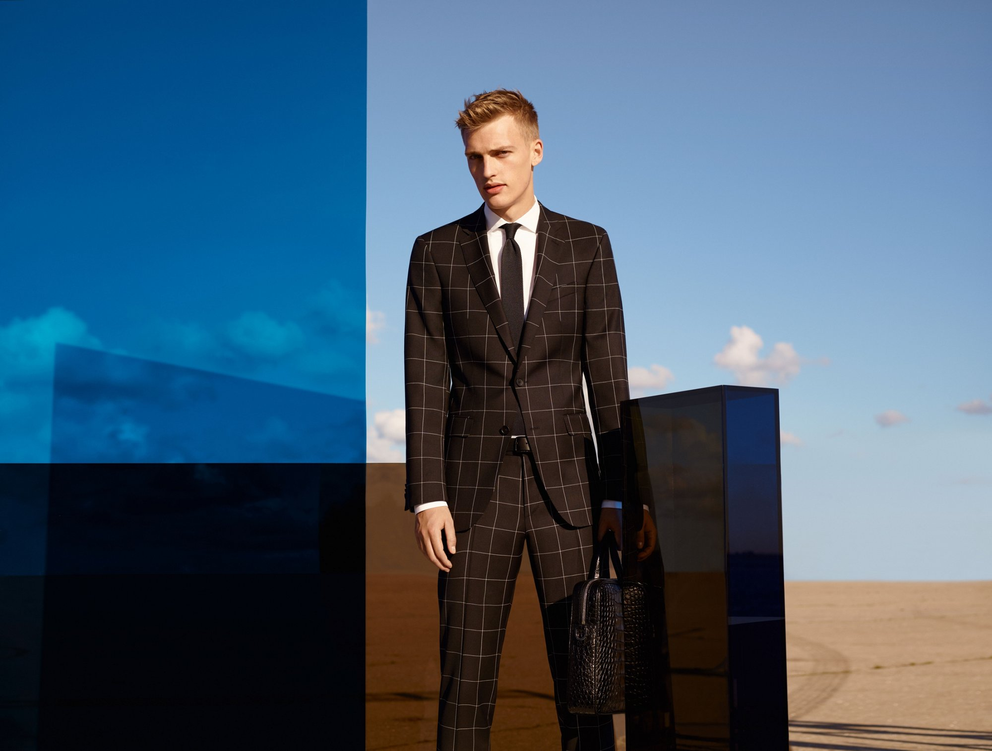 Black suit construction by BOSS