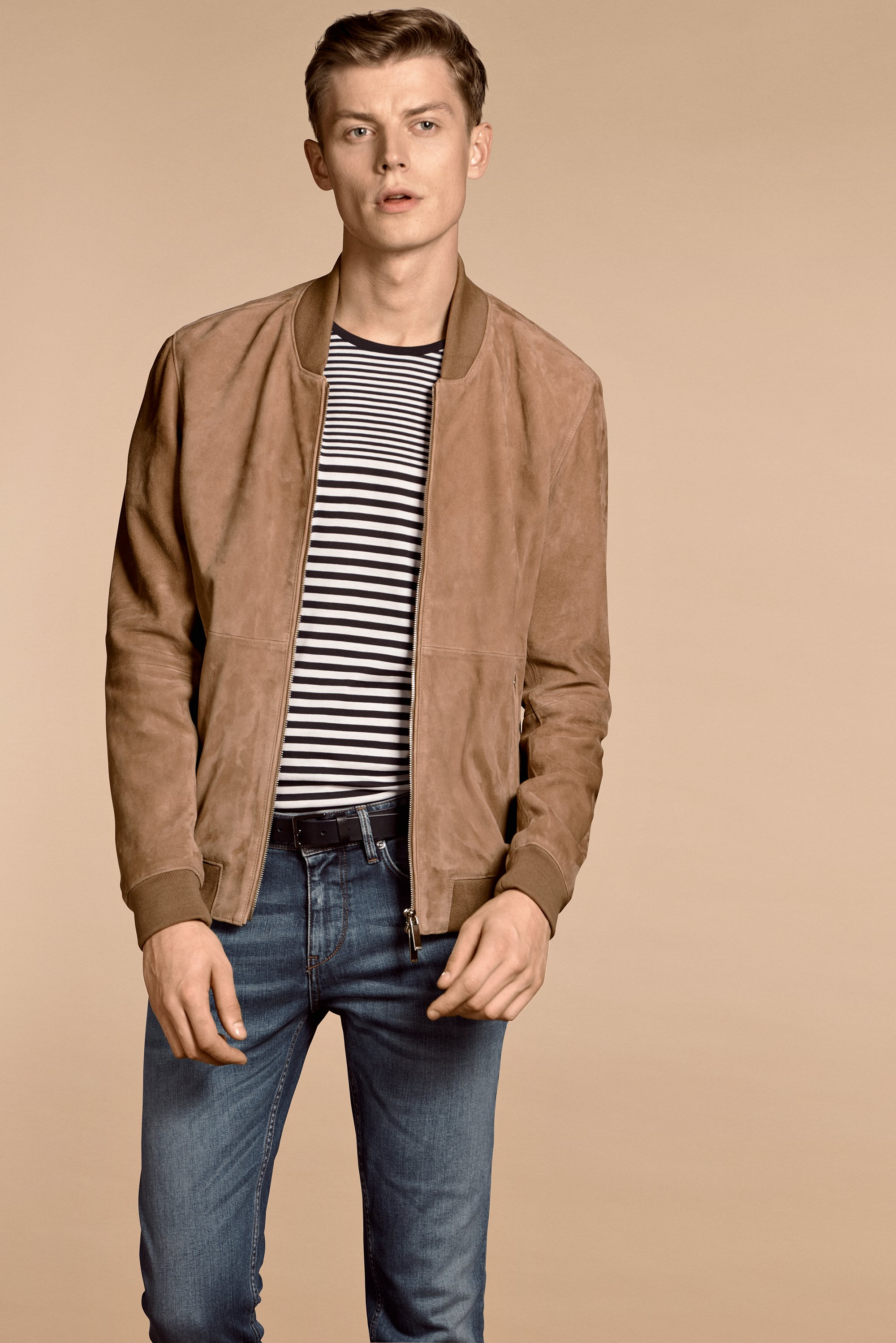 Striped shirt, brown jacket and blue jeans by BOSS Menswear