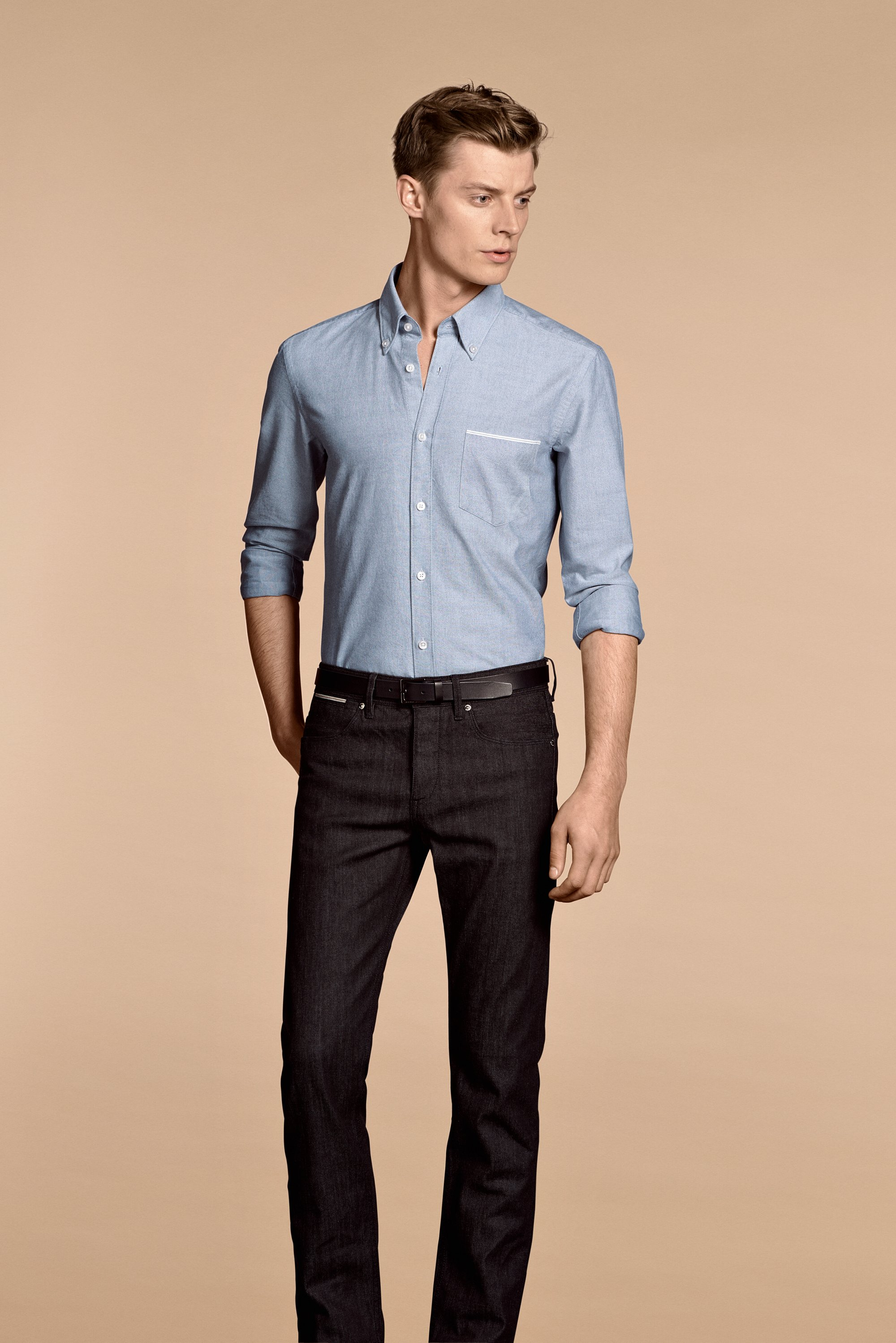 Blue shirt and black jeans by BOSS Menswear