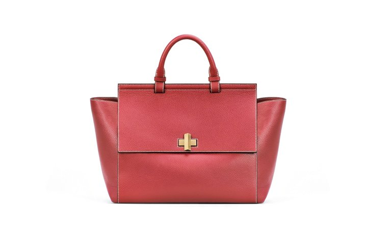 'BOSS Bespoke Soft M' | Leather Grained Satchel Handbag