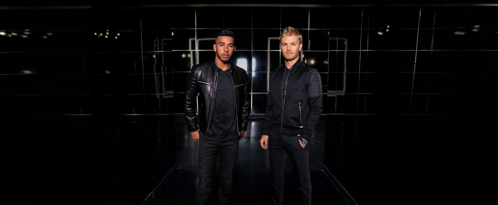 Nico Rosberg and Lewis Hamilton wearing BOSS for Mercedes-Benz