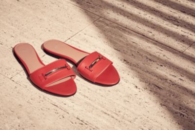 Rode slippers met metallic detail van BOSS Womenswear
