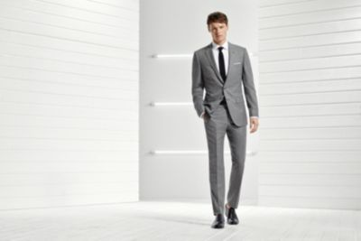 Light grey suit and black tie by BOSS