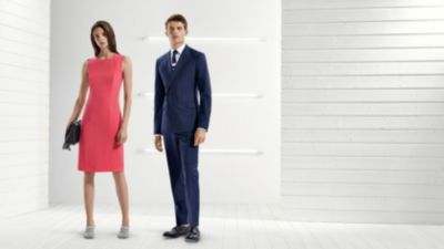 Pink occasion dress and blue suit from BOSS
