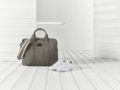 White sneakers and casual brown bag for men by BOSS