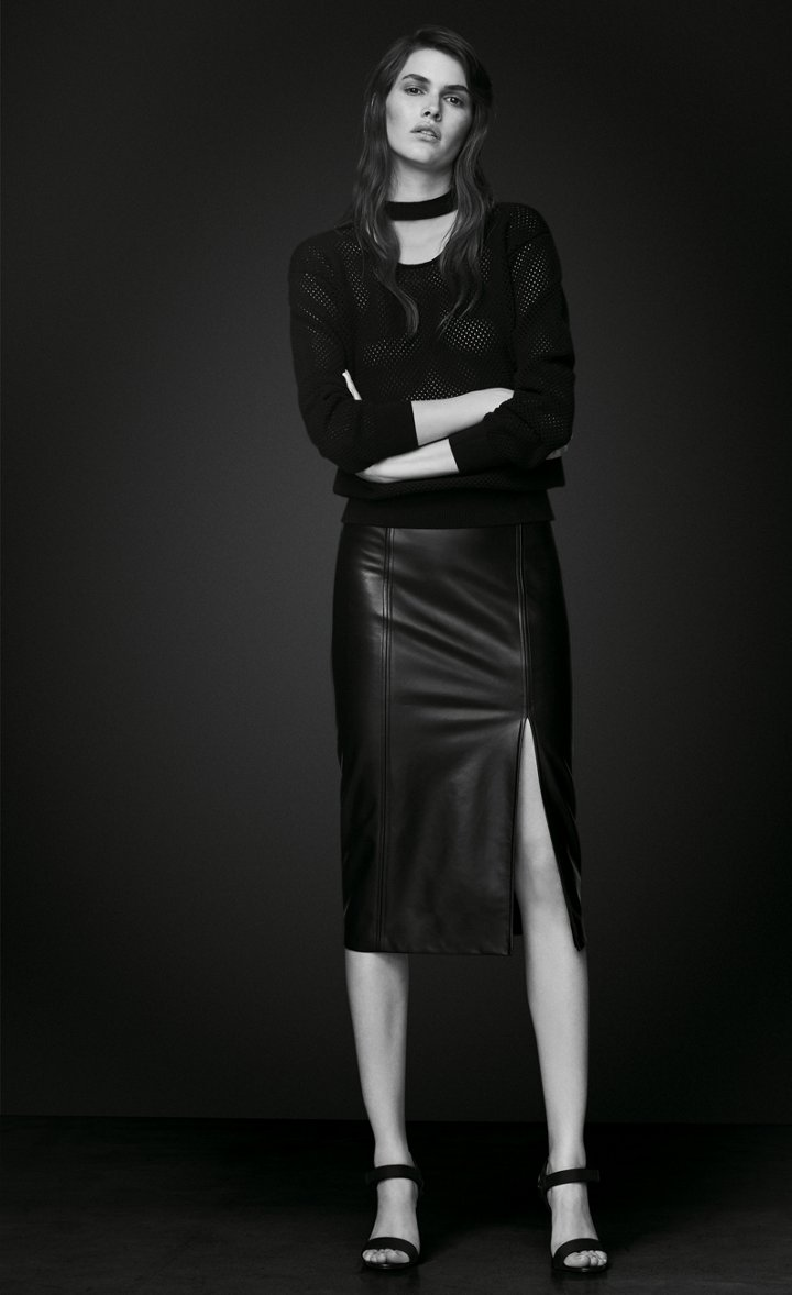 2ba4c734983c Model is wearing a black leather skirt