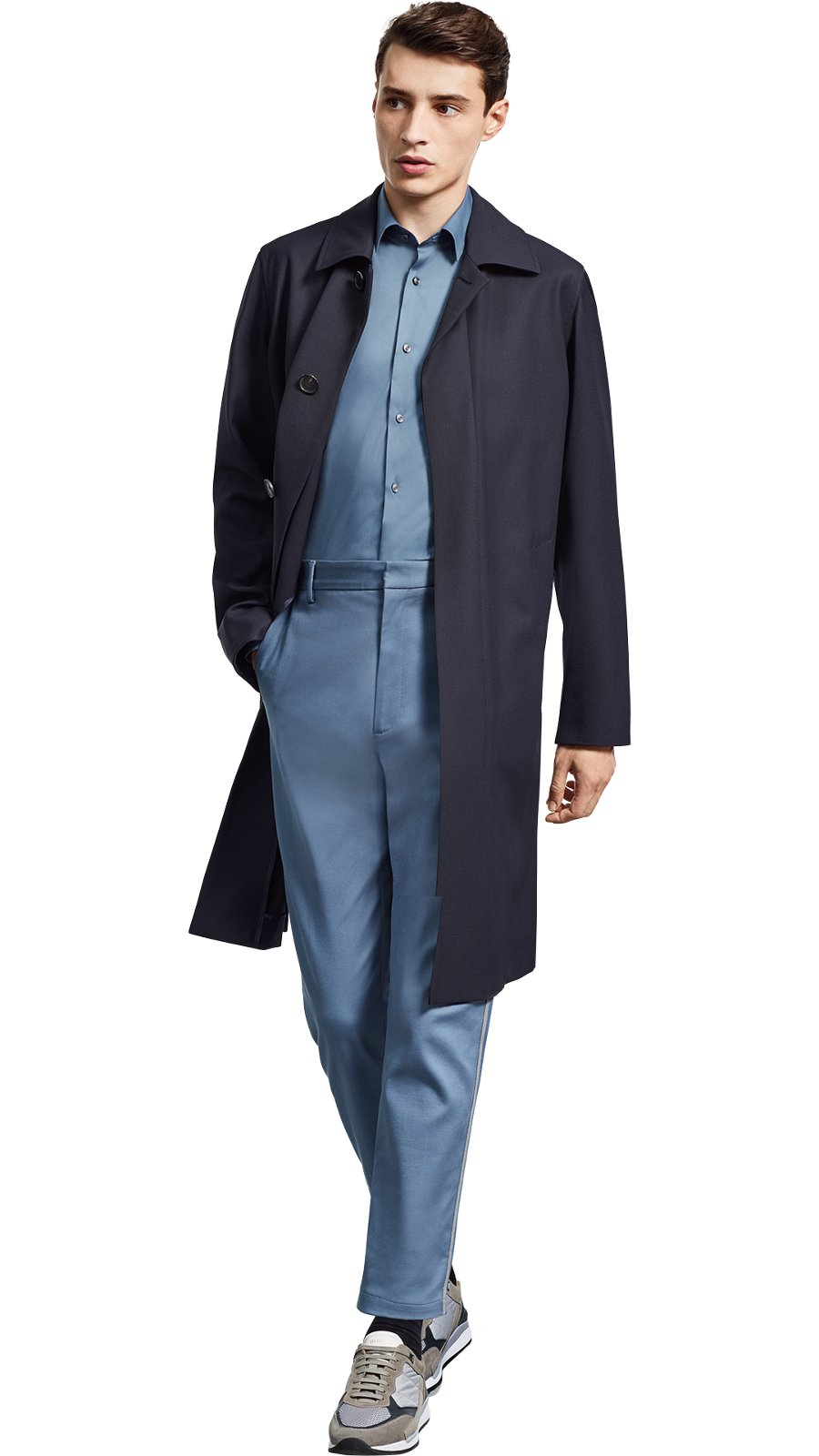 Man wearing blue outwear, blue shirt, blue trousers, and grey shoes by BOSS  ...