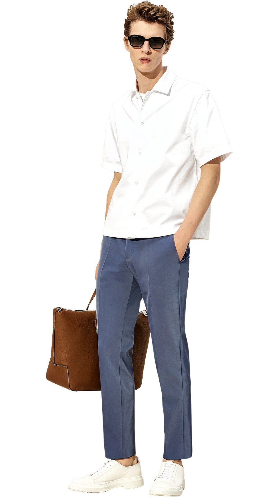 6475eb99 Man is wearing a white shirt, white t-shirt, blue trousers, ...