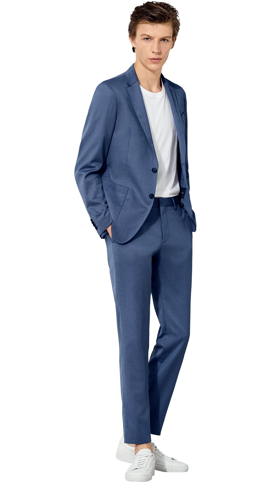 95d86e13a Man wearing blue jacket and trousers with blue shirt and blue shoes by BOSS  ...