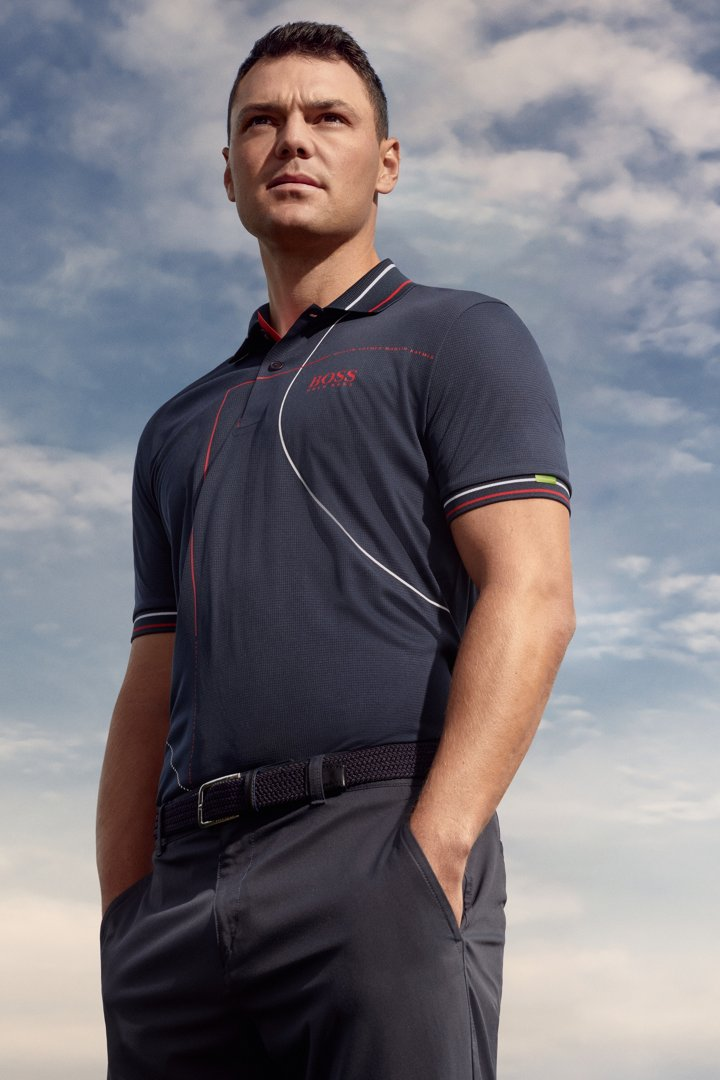 aab1232d1 Professional golf player wearing a polo shirt and golf trousers by BOSS ...