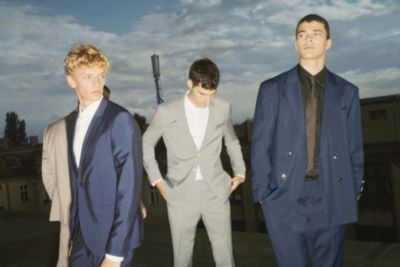 Male models wearing the Berlin and Aer suit by HUGO