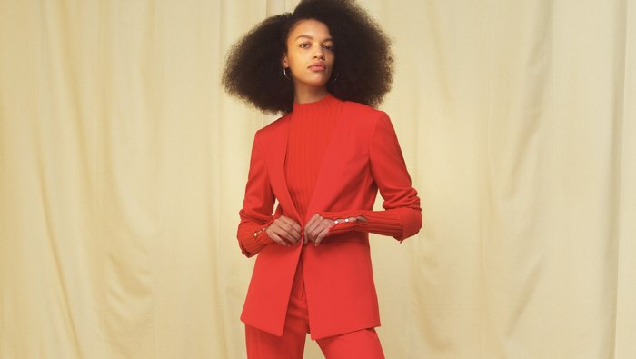 A causal suit look in red for women by HUGO