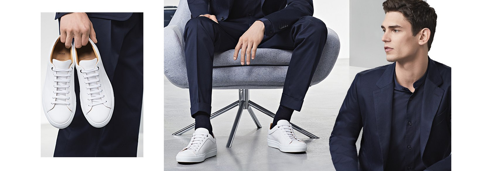 2b4c3693e179da Navy smart casual suit looks with white sneakers collage by BOSS ...