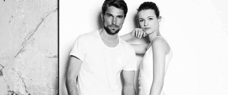 Men and Woman wearing white T-Shirts by BOSS Orange