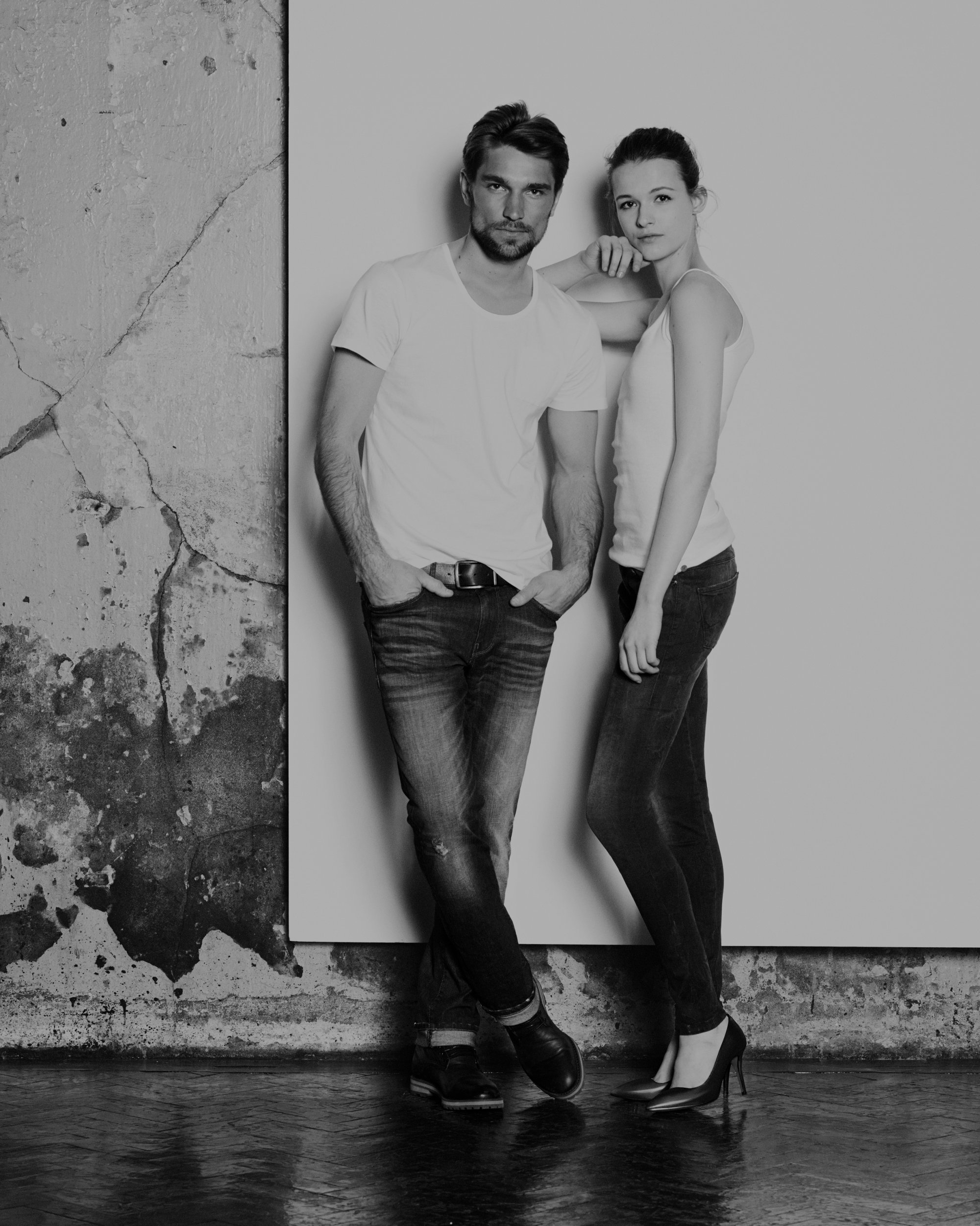 Couple in white shirts and jeans by BOSS Orange