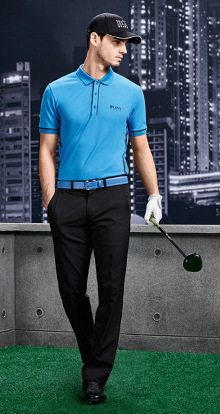 Blue Polo, black trousers, cap and shoes by BOSS Green