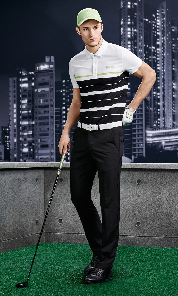 Striped Polo, black trousers and shoes by BOSS Green