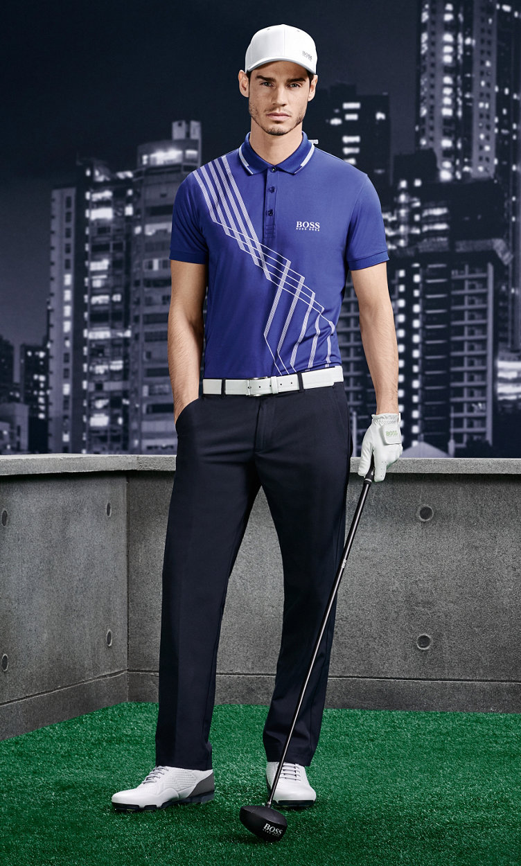 Purple Polo, black trousers, white belt and shoes by BOSS Green