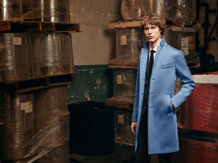 Man blue coat fall winter