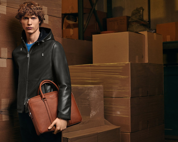 Leather jacket, trousers and Signature Bag by BOSS