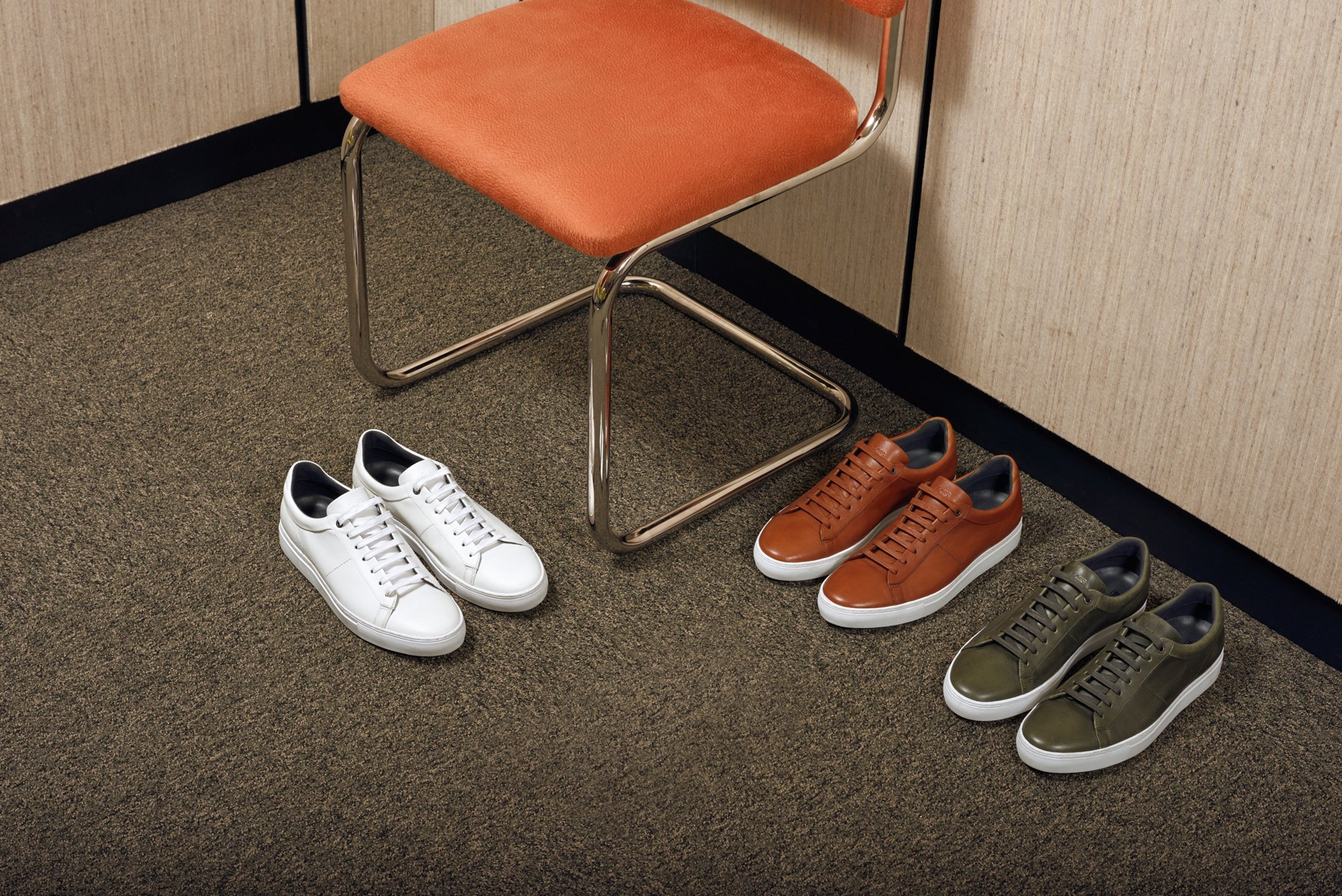 White, brown and khaki sneakers by BOSS