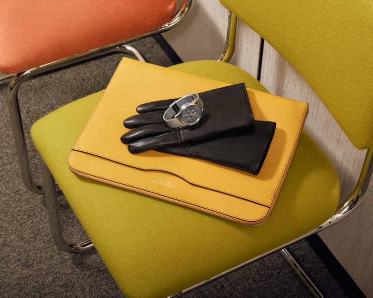 Yellow tablet sleeve by BOSS