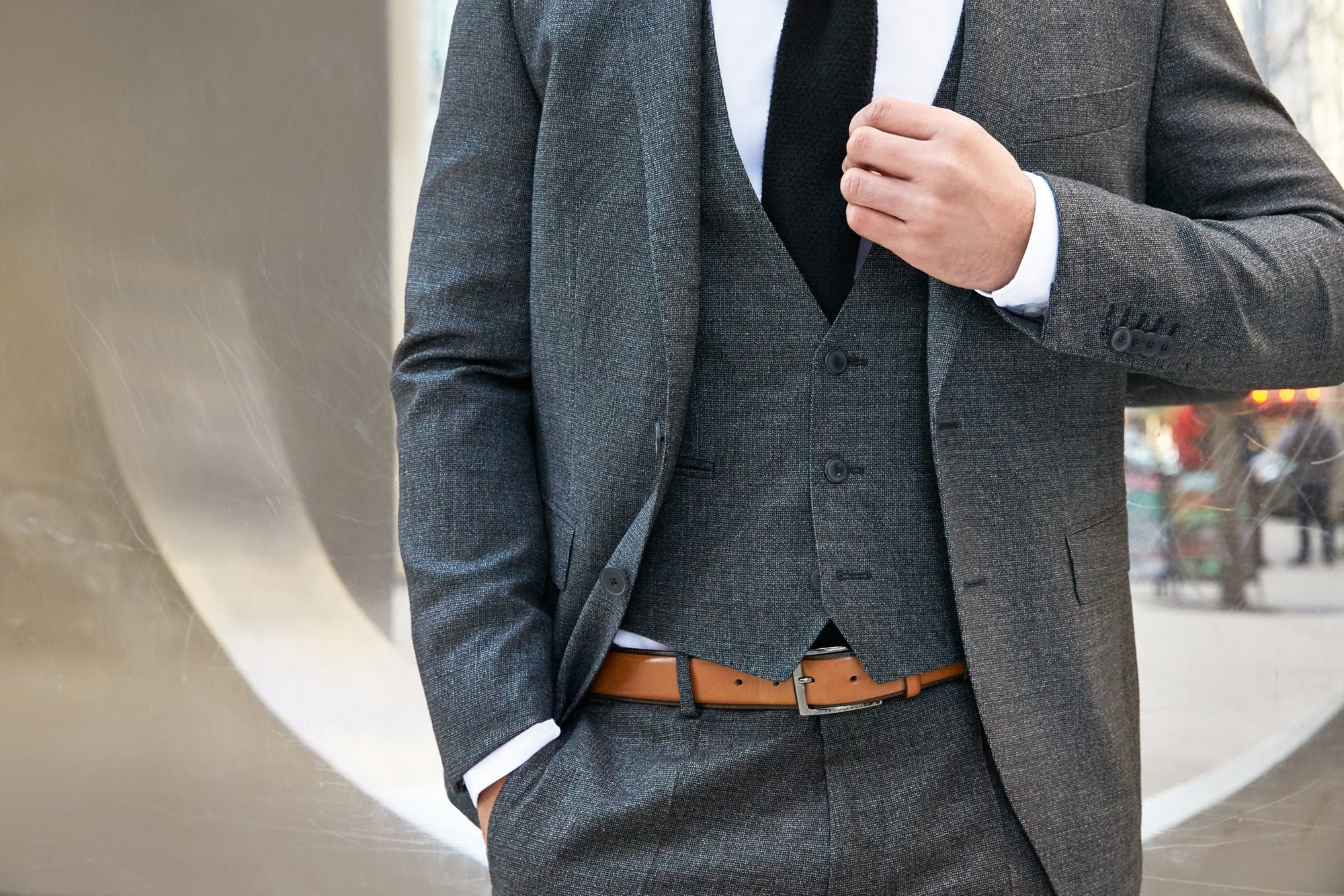 Grey suit and brown leather belt by BOSS