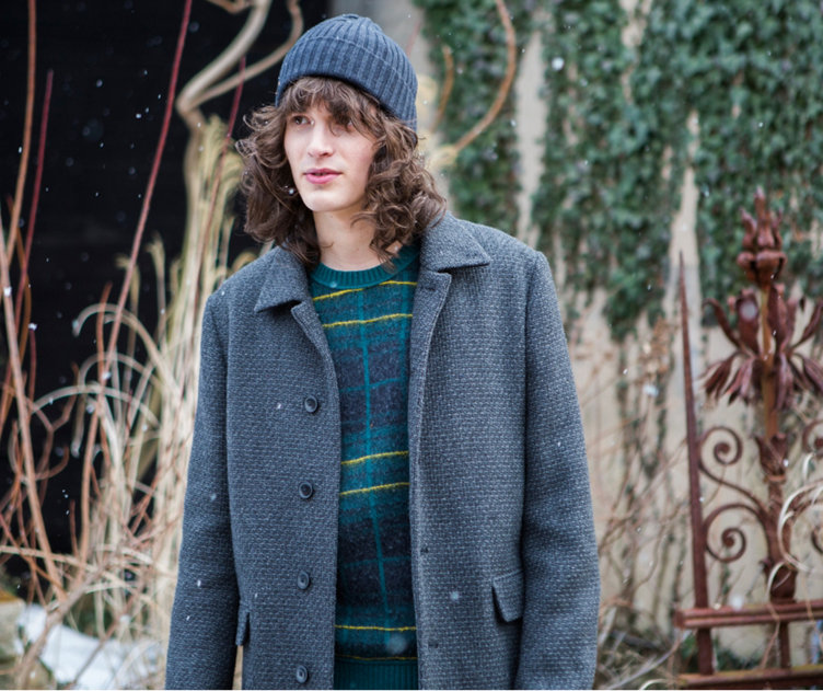 Grey Jacket over green knitwear with a grey hat by BOSS Orange