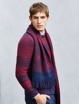 Purple sweater with same color scarf