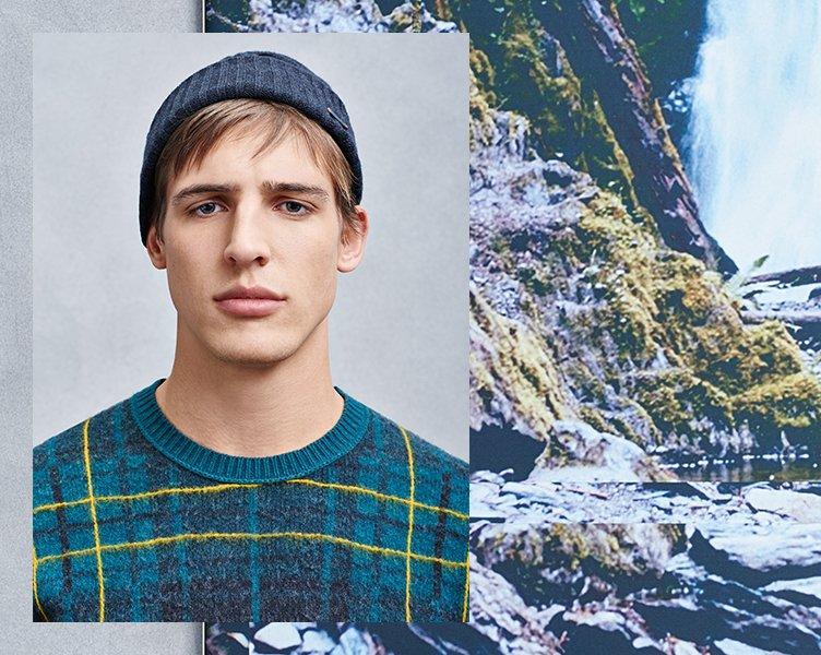 Blaue Mütze, strukturierte Jacke und Pullover von BOSS Orange