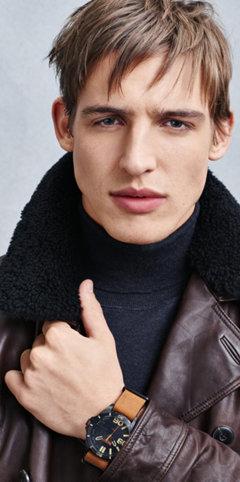 Darkbrown jacket, scarf and watch by BOSS Orange