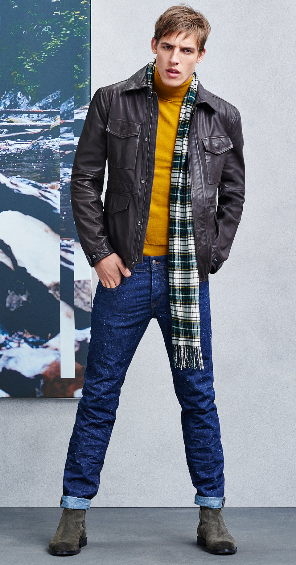 Darkbrown jacket, jeans, scarf and green shoes by BOSS Orange