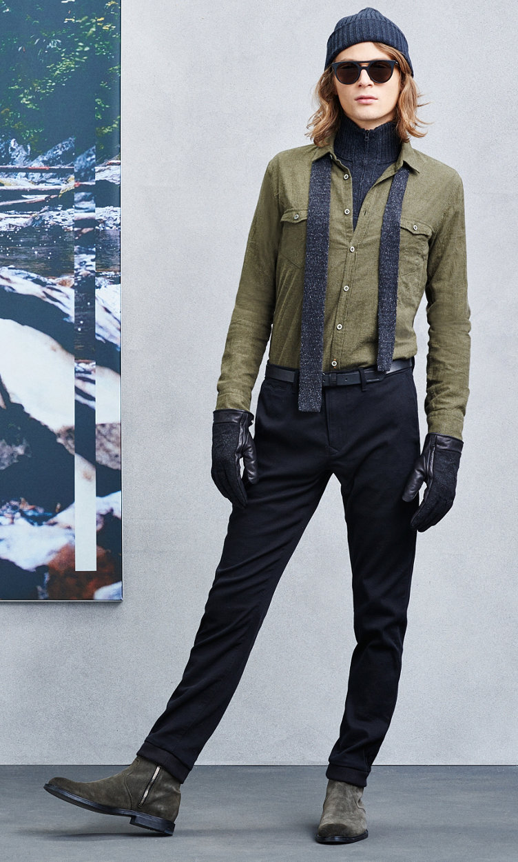 Green shirt, scarf, black trousers and green shoes by BOSS Orange