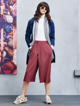 White shirt, red pants and navy cardigan by BOSS Orange