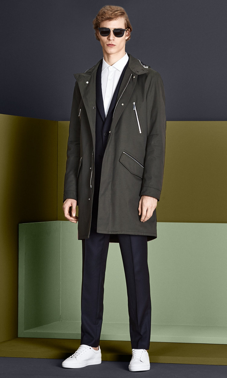 Coat, suit, shirt and sneakers by BOSS