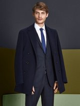 Black suit and navy coat by BOSS