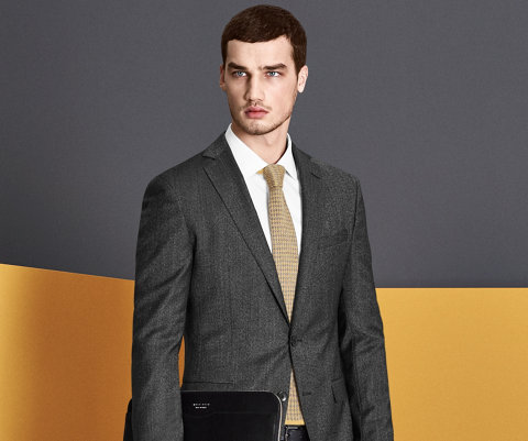 Dark grey jacket with white shirt and beige tie by BOSS