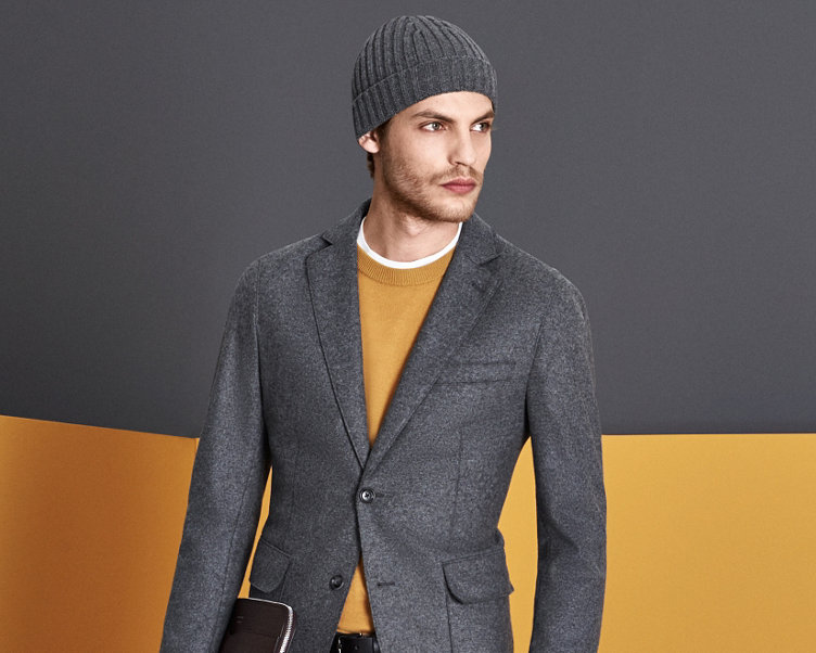 Grey jacket and yellow knitwear by BOSS