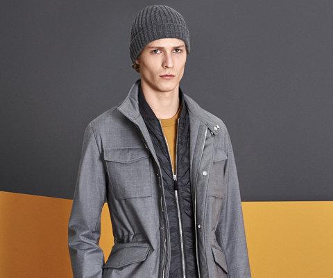 Grey outerwear, yellow knitwear, grey trousers, by BOSS Look