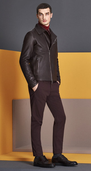Dark Brown Leather Jacket, Shirt, Trousers, Shoes and Hoisery by BOSS