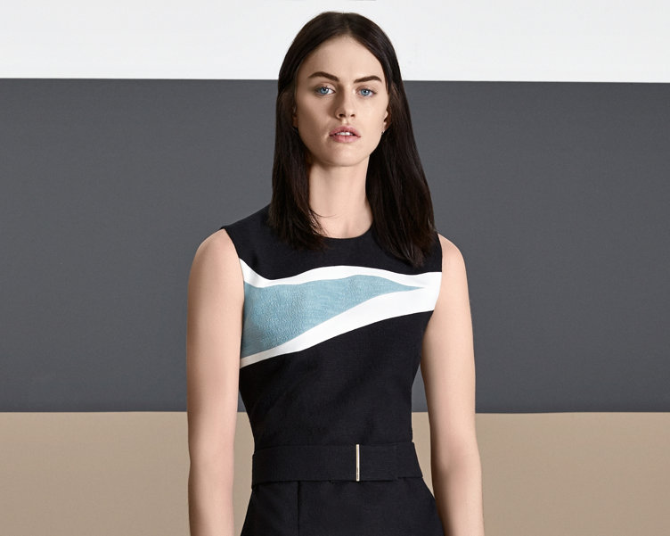 Black dress with blue and white stripes by BOSS