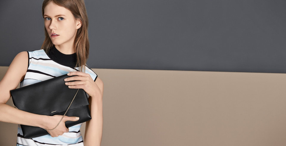 Striped dress and black bag by BOSS