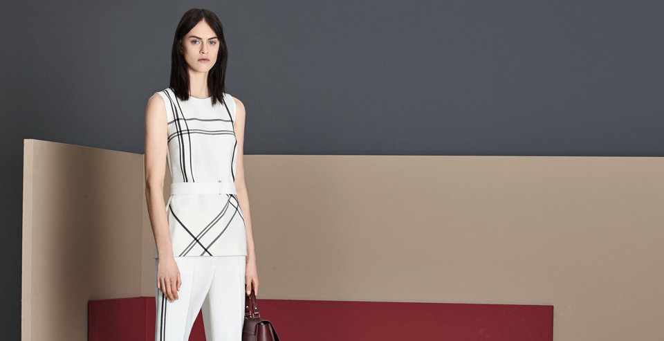 Striped top and white trousers by BOSS