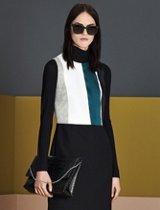 White, green, grey and black color block knitwear