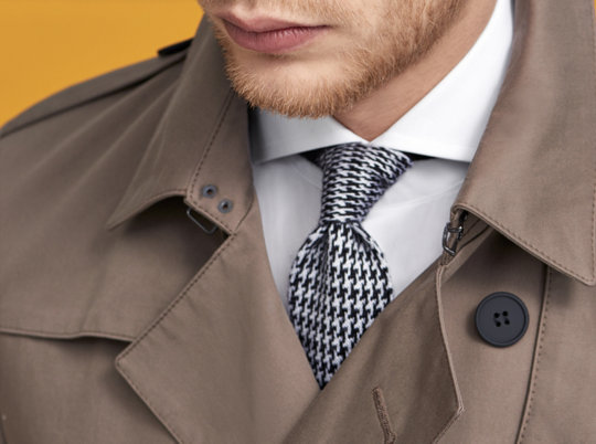Brown trenchcoat with white shirt, grey tie and grey cap by BOSS