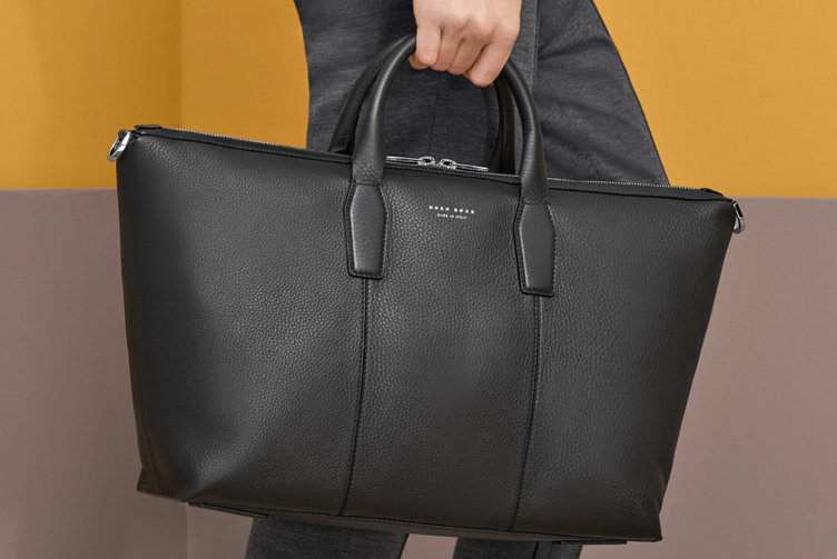 Black leather bag for men by BOSS