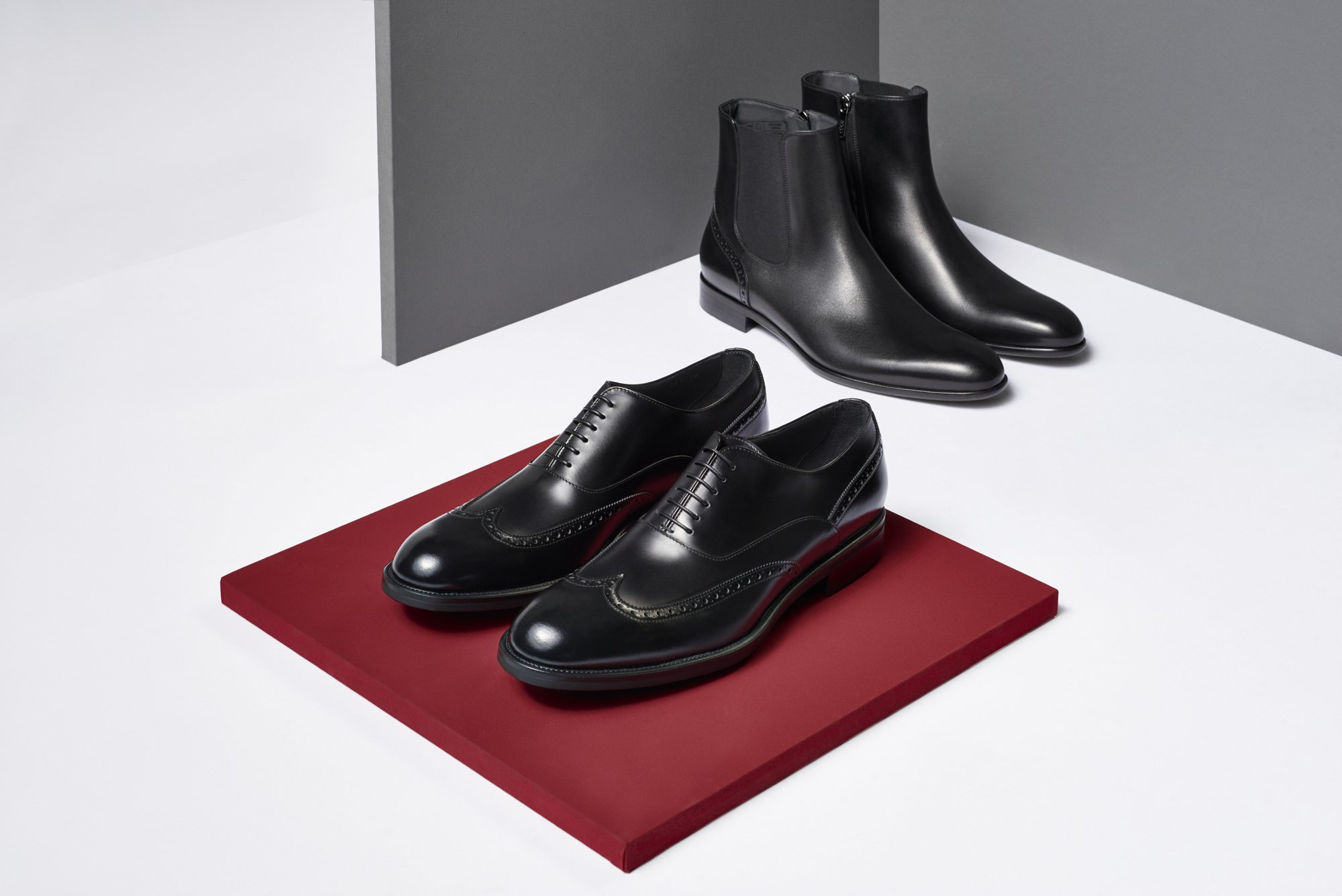 Black leather shoes by BOSS