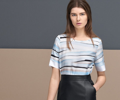 Striped top and black skirt by BOSS