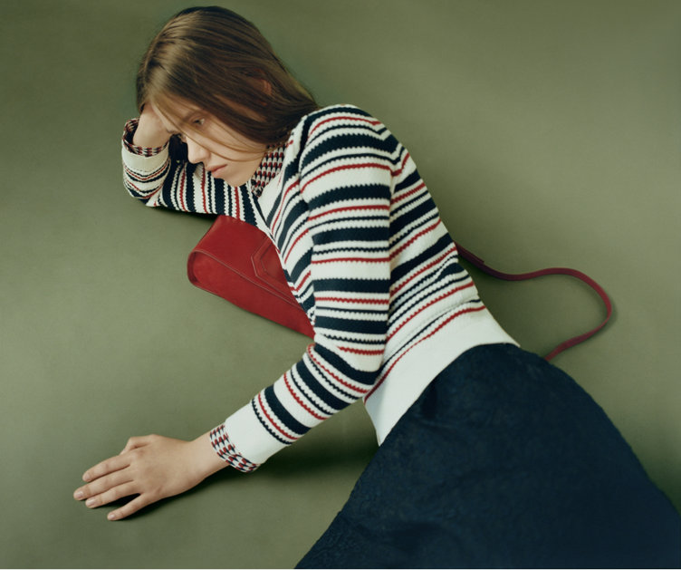 Striped Pullover, blue skirt and red dress by HUGO